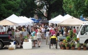 shoppers at a farmer's market in knoxville, tn